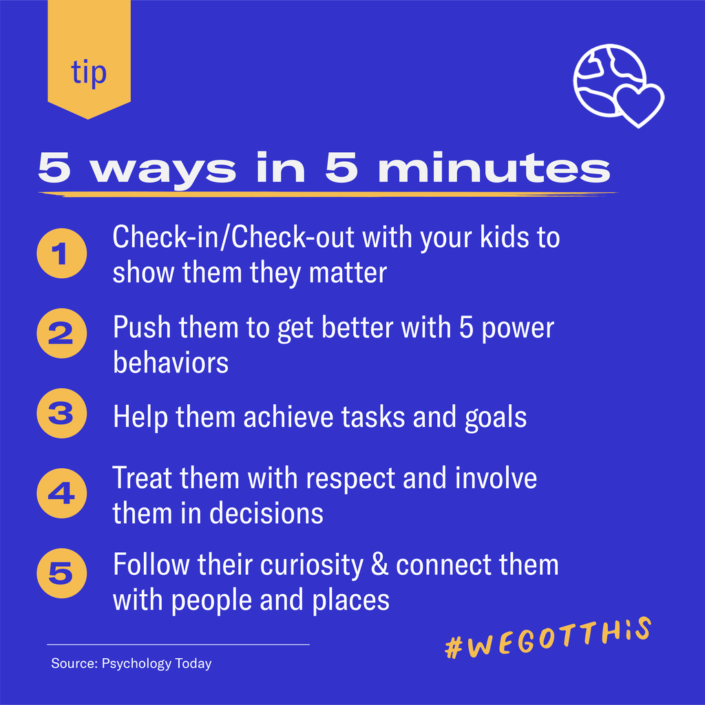 5 ways to show your kid they matter in 5 minutes includes checking in, the power behaviors, goal setting, respect and decision making and following their curisosity.