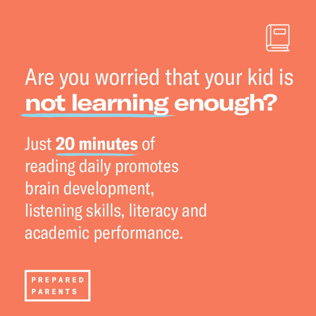 Just 20 minutes of reading daily promotes brain development, listening skills, literacy and academic performance.