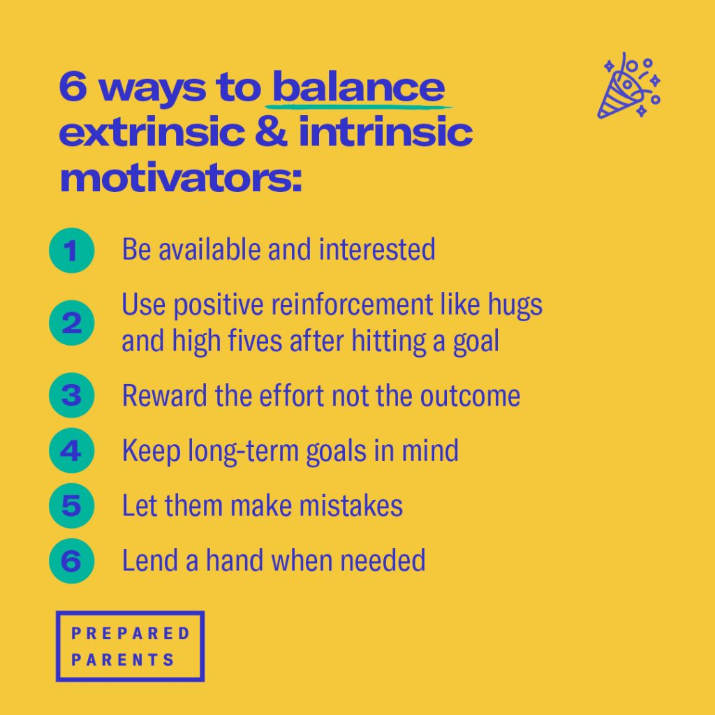 There are 6 ways to balance extrinsic and intrinsic motivation.