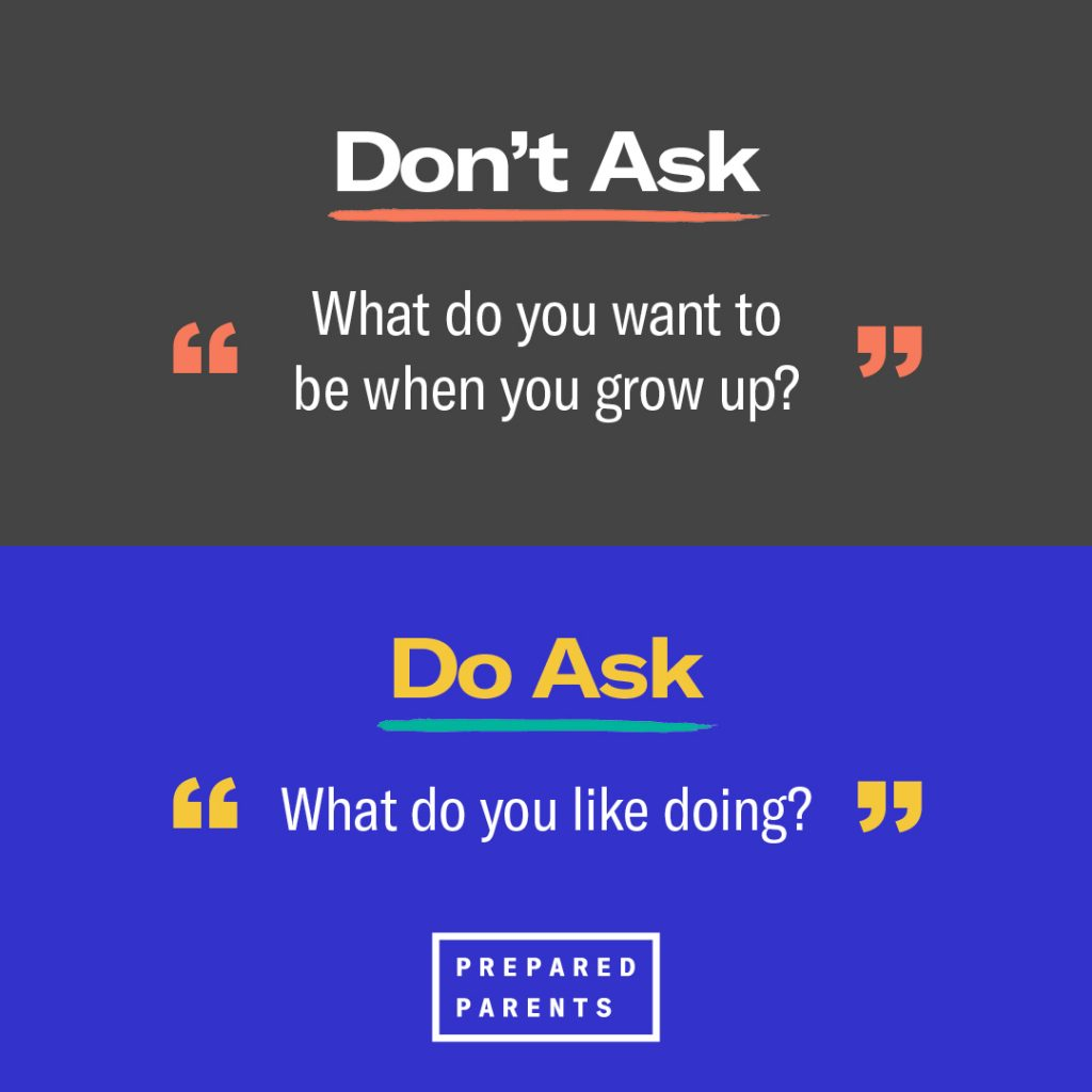 Don't ask What do you want to be when you grow up? Ask instead, What do you like doing?