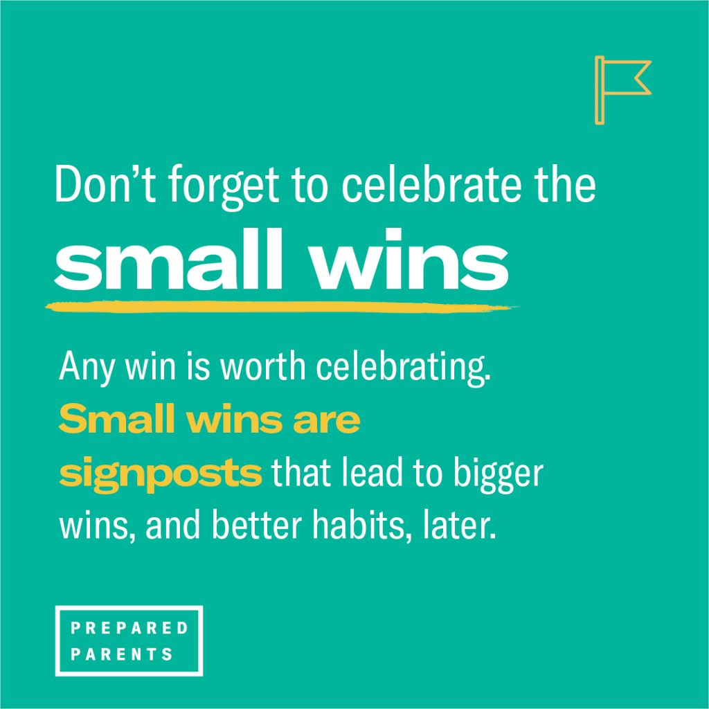 dont forget to celebrate small wins. any win is worth celebrating because it leads to bigger wins later, and better habits.
