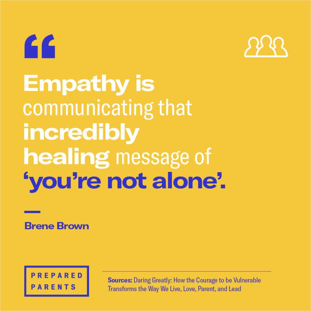 "Brene Brown quote: ""Empathy is communicating the incredibly healing message of 'you're not alone'"""