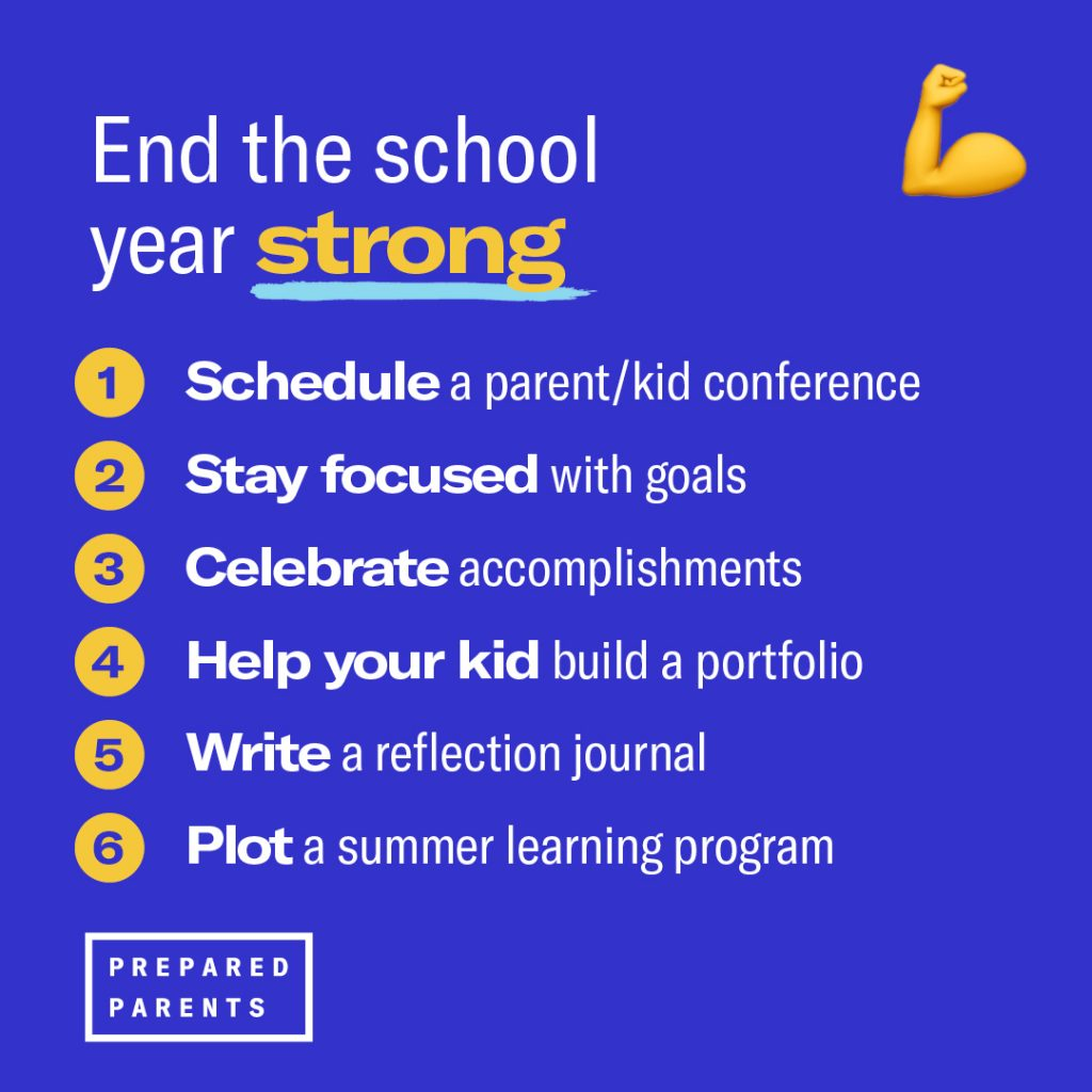 end the school year strong by scheduling a parent kid conference, setting goals, celebrating accomplishments, writing reflections and plan a summer program.