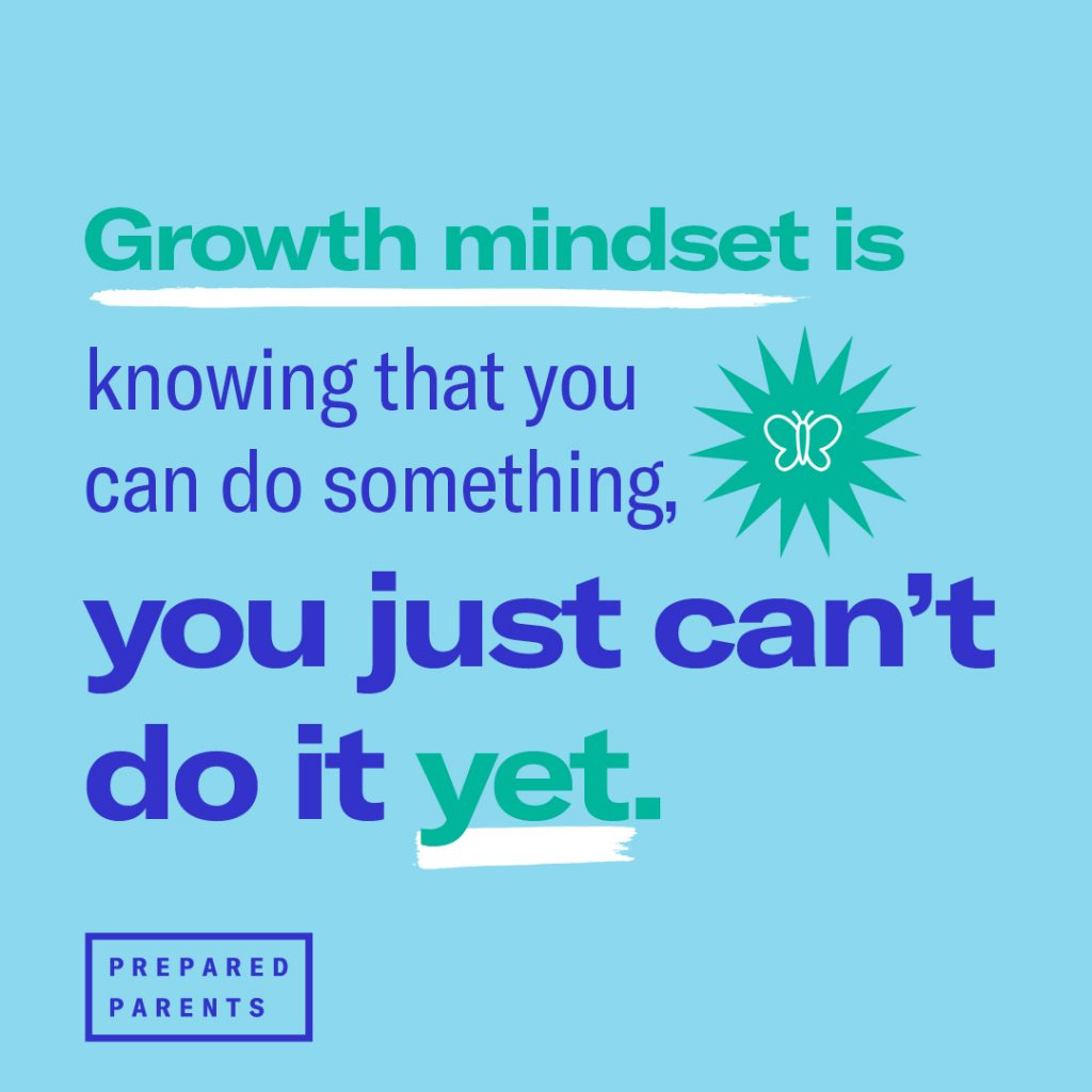 Growth mindset is knowing that you can do something, you just can't do it yet.