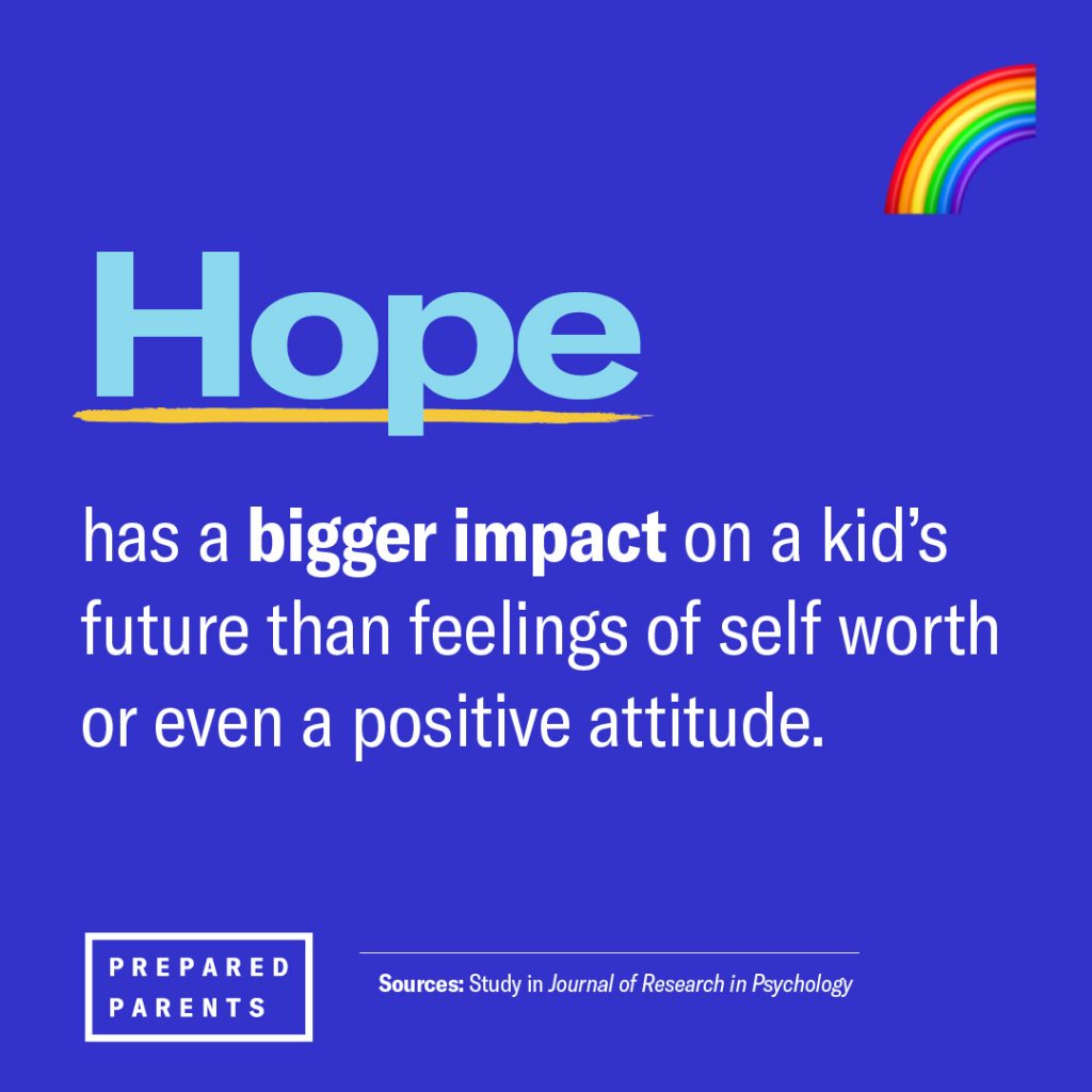 hope has a bigger impact on a kid's future than feelings of self worth or even a positive attitude