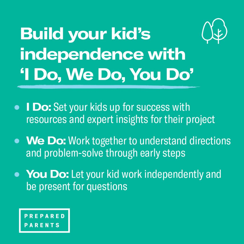 Use I Do, We Do, You Do to help build your kids ability to work independently.