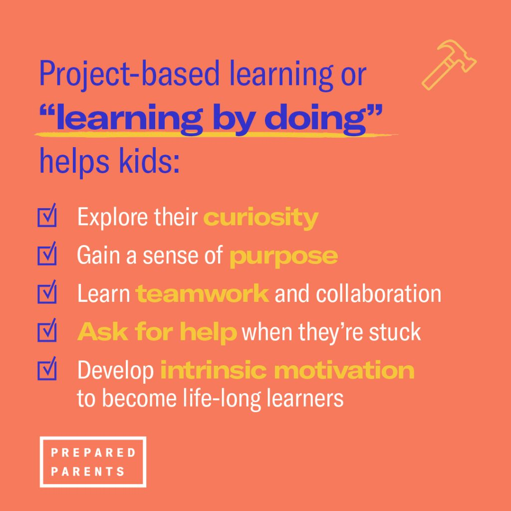 project based learning is learning by doing and helps kids explore their curiosity, gain a sense of purpose, learn teamwork and develops motivation.