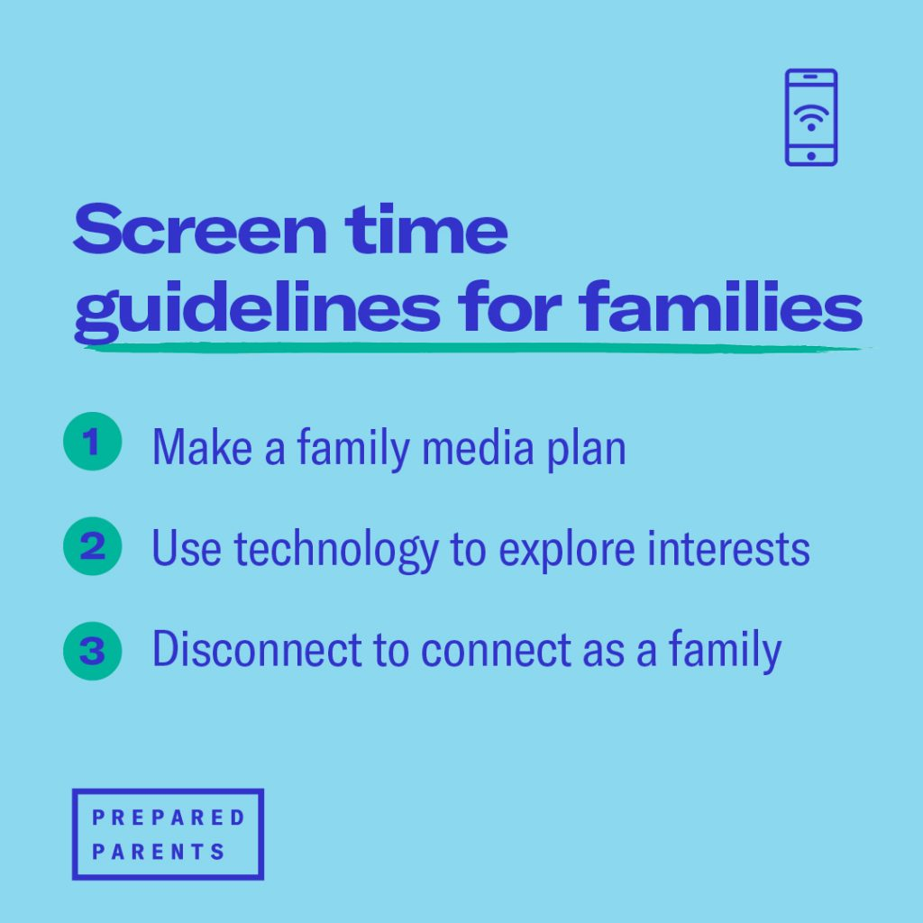 Screentime guidelines for families Make a family media plan Use technology to explore interests Disconnect as a family