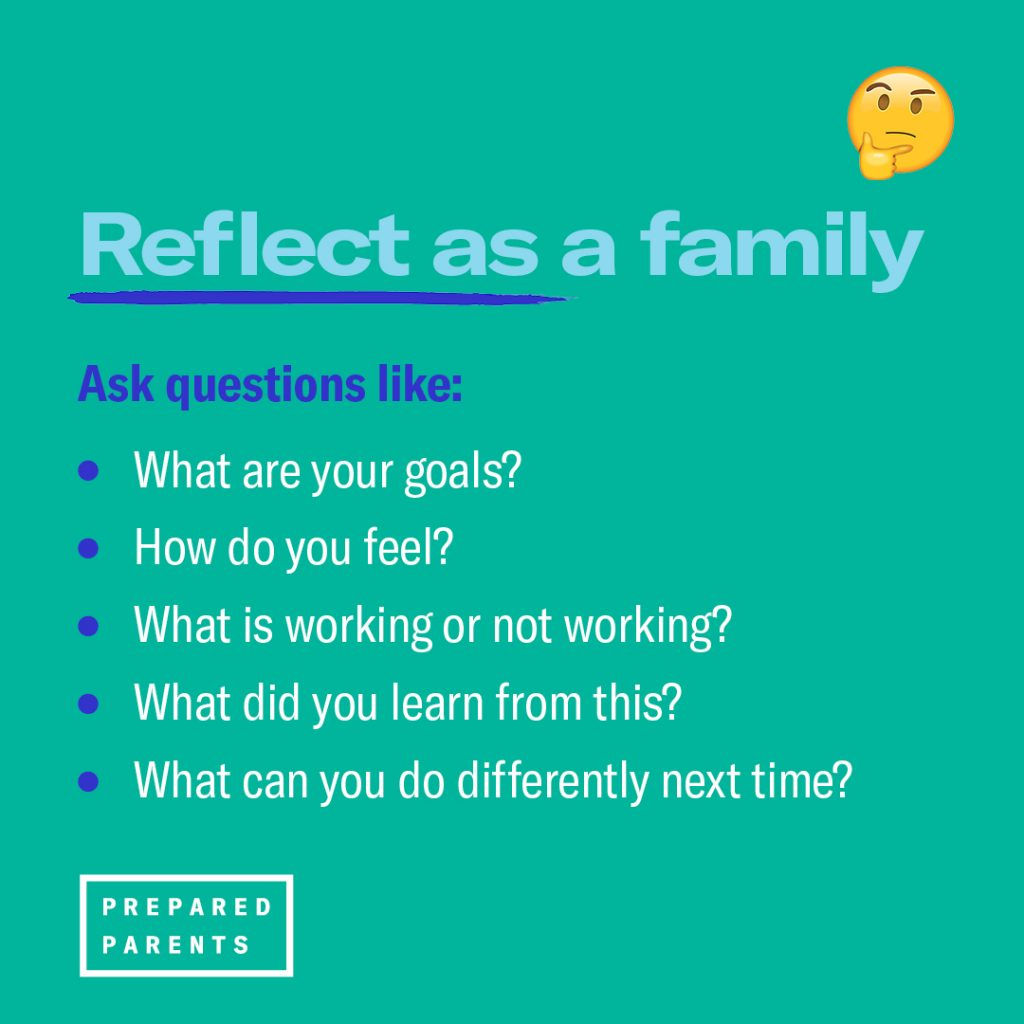 Reflect as a family by asking what are your goals, how do you feel, what is working or not working, what did you learn from this and what can you do differently next time?
