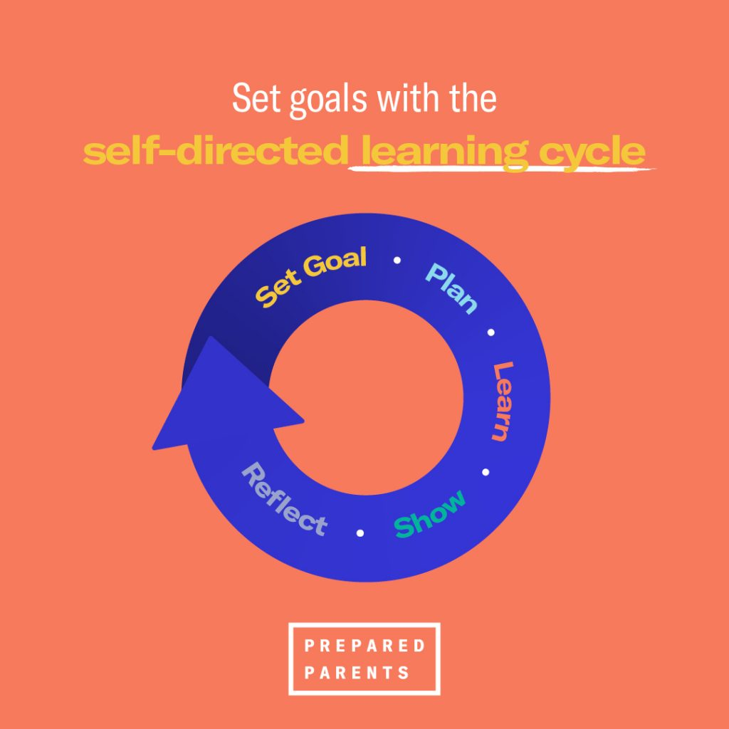 The self directed learning cycle has these steps. Set a goal, make a plan, learn, show what you know and reflect.