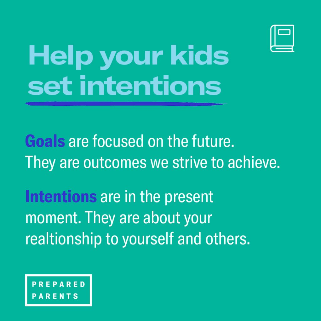 help kids set intentions. Goals are focused on the future. Intentions are in the present moment.